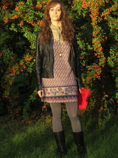 floral dress, grey tights, leather jacket, boots