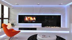 Cool Minimalist Apartment Design With Orange Accents : Minimalist Apartment Design With White Wall Blue Lamp Fireplace Glossy White Table Orange Sofa Black Rug Hardwood Floor Window Curtain