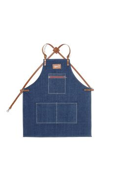 Babershop Apron Denim with Horney Brown Leather Strap by KustomDuo