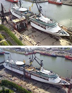 Thankfully the ever escalating cruise ship size race has not yet seen a repeat procedure like the 2008 stretching of Enchantment of the Seas - surely a 'win ugly' tactic
