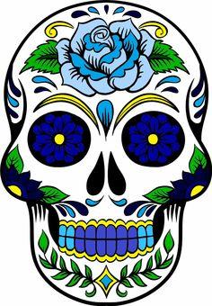 Crâne de sucre bleu - Too Many Tatts Painted Pumpkins, Painted Rocks, Caveira Mexicana Tattoo, Sugar Skull Artwork, Skeleton Art, Skeleton Makeup, Skull Coloring Pages, Skull Painting, Day Of Dead