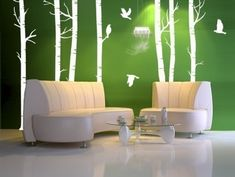 Amazing Jungle and Birds Wall Murals Decals Painting in Small Living Room Interior Decorating Design Ideas - Modern Homes, Modern Design Homes - Modern Homes, Modern Design Homes