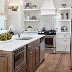 Kitchen Two-tone Cabinets Design,   White Cabinets with wood cabinets and floors