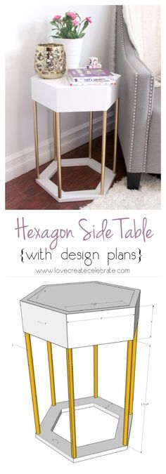 Hexagon Side Table - all it needs is the front to be able to open for storage.