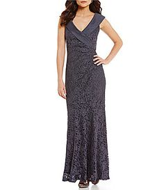 Decode 18 Portrait Collar Stretch Lace Overlay Gown #Dillards
