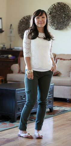 Casual pants w lace