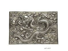 Orient Chinese Silver Coating Dragon Disc Display - Golden Lotus Antiques