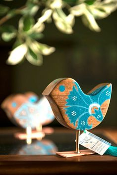 FOR HOME DECOR Turquoise.Decorated Wooden Bird.Table top by TurquoiseArtCreative