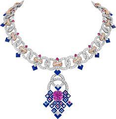 'Matrimonio' Collier/Pendentif - or, saphir rose taille coussin carats), saphirs, lapis-lazuli et diamants. Van Cleef Arpels, Van Cleef And Arpels Jewelry, High Jewelry, Jewelry Accessories, Jewelry Art, Geek Jewelry, Chanel Jewelry, Jewelry Necklaces, Lapis Lazuli