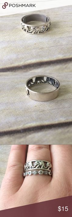 Elephant Ring This is a beautiful sterling silver ring, which is great for stacking! Fits a size 10 comfortably. Has been worn! ⭐️Use like button to get price drop notifications! ❤️ ⭐Bundle to save   ⭐️Personalized bundles!  ⭐️ Use the offer button ⭐️Same day shipping ⭐️ Smoke free home  No PayPal   I don't sell on any other apps  No trades Dreamland Jewelry Jewelry Rings