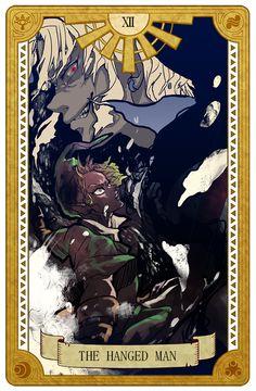 The Hanged Man, Legend of Zelda, Tarot artwork by 空谷 (Kuukoku) First Video Game, Video Game Art, The Legend Of Zelda, High Fantasy, Nintendo, Skyward Sword, Twilight Princess, Breath Of The Wild, Adventure Games