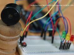 Here is Circuit Diagram, Code, List of Components & Demonstration Video of Arduino Door Bell With Push Button With 3 LED. It is easy project. Arduino Board, Green Led, Circuit Diagram, Unusual Things, Diy Electronics, Coding, Buttons, Doors