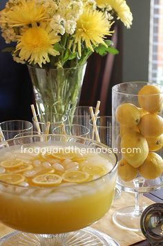 Lemon Punch ~ Very refreshing, very crisp!    1 cup Country Time Lemonade mix {or the likes}  2 cups cold water  1 can of chilled pineapple juice {46 oz}  2 cans chilled Sprite {or the likes}  Mix together and add lemon slices to make pretty.