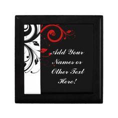 Black White Red Reverse Swirl Personalized Keepsake Boxes