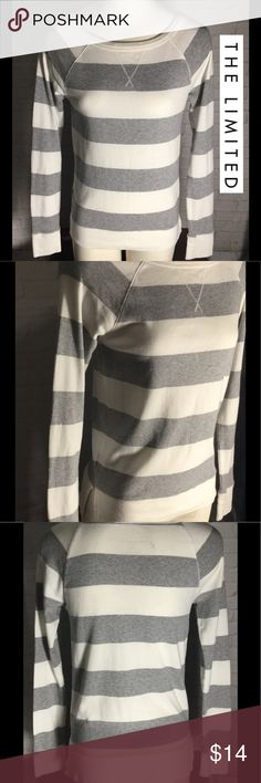 """The Limited striped women's top small white gray This is stylish, comfy, top soooo cute to pair up with jeans, leggings etc... name brand The limited, women's small. Armpit to armpit approx 16"""" length 23"""" approx unstretched.  EXCELLENT CONDITION free from any rips, stains or discoloration and comes from a smoke free home.  Buy with confidence I am a top rated seller, mentor and fast shipper.  Don't forget to bundle and save.  Thank you. The Limited Tops"""
