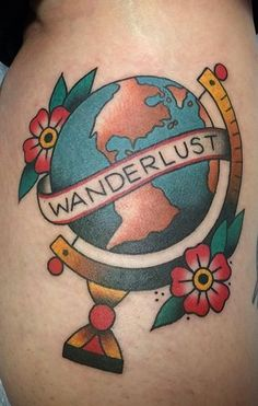 Michelle Rubano from Full Circle Tattoo in San Diego California wanderlust globe flowers old school american traditional