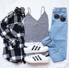 49 Cute Summer Outfits | Fashion Inspiration   @ngxcivy Instagram -- Flannel shirt. denim skinny jeans. grey camisole.  adidas. Spring outfit. Back to school Outfit. Summer fashion.
