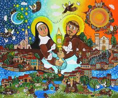 Santa Clara e São Francisco de Assis , arte Naif, Andreza Katsani San Francisco, Kinfolk, Anime, Movie Posters, Paintings, Saint George, Religious Art, Canvas Art, Dashboards
