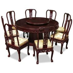 60in Rosewood Pearl Inlay Design Round Dining Table with 8 Chairs