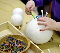 "Winter Fine Motor Play with Styrofoam ""Snowballs"""