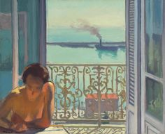 View of the artist at work in his apartment in Algiers on a late afternoon or early morning, with the still azure waters of the harbor visible and a ship passing in the background, painted by French fauvist and post-impressionist Albert Marque in Henri Matisse, Rio Sena, Raoul Dufy, Post Impressionism, Open Window, Landscape Paintings, Modern Art, Art Gallery, Photos