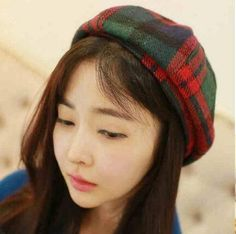 44ad3b7f46f89 Red and green plaid beret hat for teenage girls wool hats autumn wear