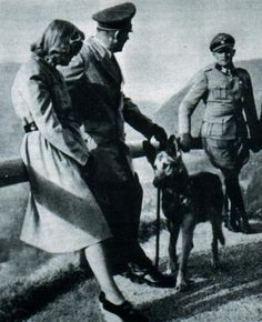 Adolf Hitler and Eva Braun with Blondi and Sepp Dietrich at the Berghof in Berchtesgaden, Germany