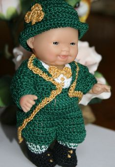 I created this Pattern for 5 inch Lots to Love Berenguer Chubby baby. Instructions for:  Hat  Jacket with long Tails. Knee length pants with