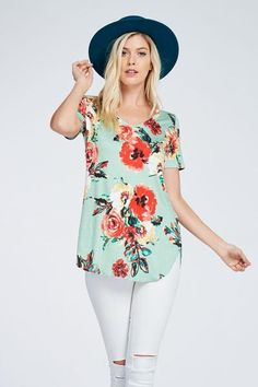 Floral v neck tee. Perfect for summer!