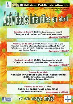 #actividadesbiblioteca Programación de actividades infantiles abril 2015
