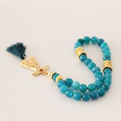Turquoise Jade 33 Tasbeeh Gold plated Ottoman by Vanilleecom