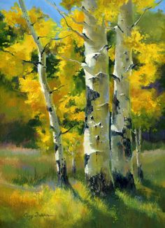 """""""Autumn Showcase"""" Plein Air Oil on Board Acrylic Painting Trees, Oil Painting Abstract, Painting Art, Flor Magnolia, Watercolor Landscape Paintings, Watercolor Artists, Birch Tree Art, Aspen Trees, Gras"""