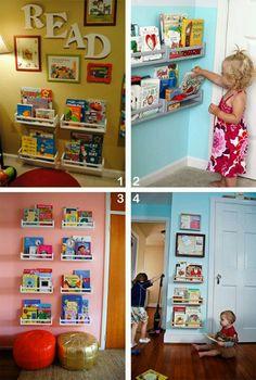 Playroom - ikea spice rack as book shelves Toddler Rooms, Kids Bedroom Ideas For Girls Toddler, Toddler Playroom, Toy Rooms, Toy Organization, Toddler Room Organization, Organizing Toys, Playroom Organisation, Big Girl Rooms