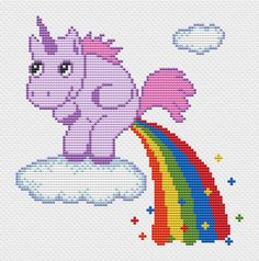 Unicorn Pooping Rainbow is a pattern, not the completed work.  I designed it myself.  This pattern is a super quick stitch and can be done in just a few hours.  On 14-count aida the design measures 6.21*6.29 inches (87w*88h stitches). Sizes will change with count size. Design used 8 DMC thread colors.  This pattern is in PDF format and consists of a floss list, and a color symbol chart. If you have any questions about this pattern, please ask me. I will contact you with any further…