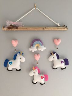 Unicorn Driftwood Mobile by HeartFELTHangables on Etsy Felt Crafts, Fabric Crafts, Diy And Crafts, Crafts For Kids, Arts And Crafts, Sewing Projects, Craft Projects, Felt Baby, Felt Patterns