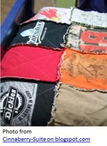 Saturday Project: Tee Shirt Quilt, this would be great for all of those vacation sweatshirts she collects and for all of his team t's.