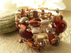 Autumnal Tones Semi-Precious Memory Wire Bracelet with Shell Accents and Fresh Water Pearls