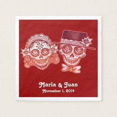 Shop Sugar Skulls Couple Paper Napkins for Wedding created by thaneeyamcardle.