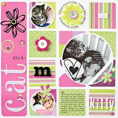 Using a square grid design is a fun contrast to a series of circles, three of which contain photographs. Amy also placed additional journaling on the largest photo. When designing on a grid, try using your computer or a pencil to sketch the grid first. You can then use the lines as a guide to perfectly align your elements on the page.