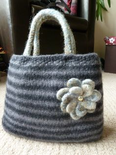 Hand knitted and felted bag I made with Schoppel Wolle (Reggae Ombre)