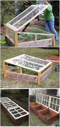 DIY Portable Window Cold Frame Greenhouse Instructions DIY Green House Projects Instructions by Michele L Collura Diy Greenhouse Plans, Large Greenhouse, Backyard Greenhouse, Greenhouse Wedding, Portable Greenhouse, Window Greenhouse, Homemade Greenhouse, Greenhouse Growing, Diy House Projects