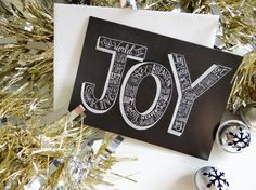 Joy To The World Card - Hand Lettered Christmas Card - Religious Christmas Card - Christmas Chalkboard - 5x7 Chalkboard Card - Typography on Etsy, $4.50