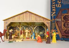 Marx Nativity Toy Set in Box Vintage Tin Litho Stable Hand Painted Figures