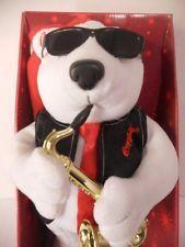 Coca - Cola Animated Jazz Polar Bear Santa Hat Saxaphone Coke Sunglasses Sax