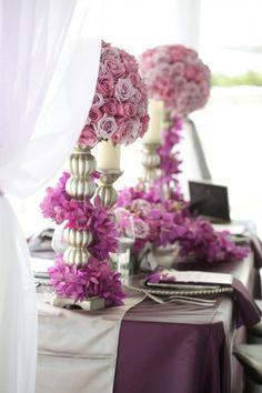Floral wedding decoration purple lilac grey silver idée déco florale table mauve parme violet argent