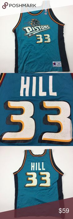 28d3ad674 Vintage 90s Grant Hill Detroit Pistons Teal Jersey Vintage Champion Grant  Hill Detroit Pistons NBA Basketball
