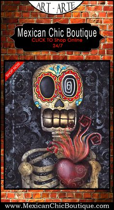 Mexican Paintings | Art Print | Mexican Art Print | Mexican Decorations | Mexican Decor | Home Decor | Mexican Art | Mexican Folk Art | Paintings | Home Decorating Accessories | Day of the Dead | Day of the Dead Art Print | Wall Decor | Shop Now | Mexican Chic | Mexican Chic Boutique  ♥ Sacred Heart by Abril Andrade Fine Art Print Sugar Skull Tattoo Day of the Dead $24.95