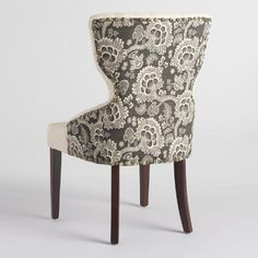 Black Floral and Linen Maxine Dining Chair - v4
