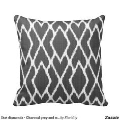 Ikat diamonds - Charcoal grey and white Throw Pillow