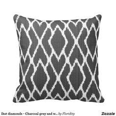 Ikat diamonds - Charcoal grey and white Throw Pillow